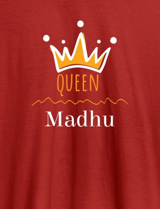 Queen Crown with Name On Red Color Women T Shirts with Name, Text, and Photo