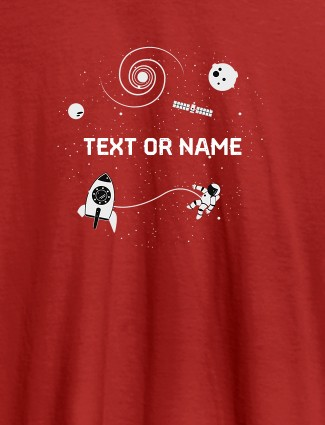 Women Astronaut with Your Name On Red Color T-shirts For Women with Name, Text and Photo