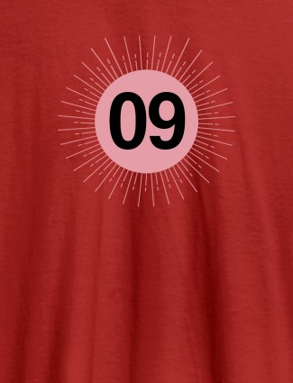 Your Lucky Number with Design On Red Color Women T Shirts with Name, Text, and Photo