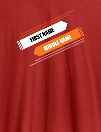 First Name and Last Name On Red Color Customized Tshirt for Women