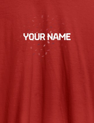 Blast Design with Your Name On Red Color Customized Womens T-Shirt