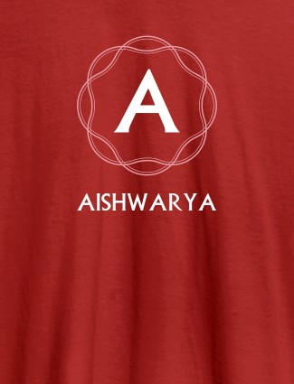 Wave Design with Initial and Your Name On Red Color T-shirts For Women with Name, Text and Photo