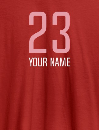 Number and Name On Red Color Personalized T-Shirt for Women