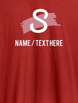 Paint Brush Theme with Initial and Name On Red Color Customized Women Tees