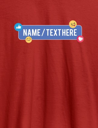 Your Name with Emojis On Red Color Customized Womens T-Shirt