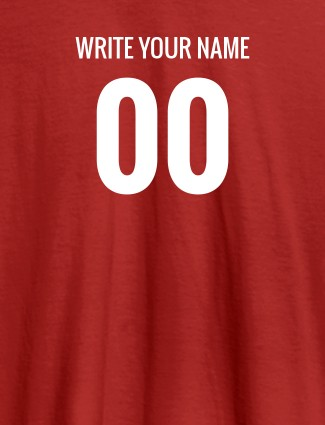 Name and Number On Red Color Women T Shirts with Name, Text, and Photo