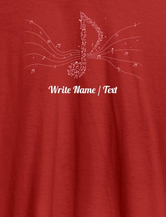 Musical Theme with Your Name On Red Color Customized Women Tees
