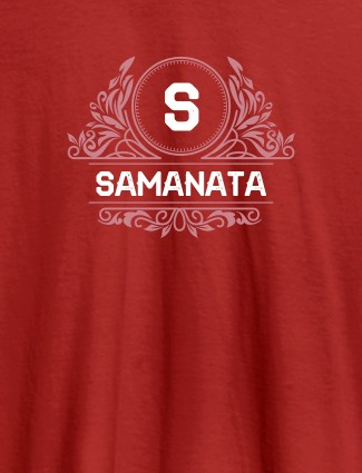 Shield Design with Text and Initial On Red Color Customized Tshirt for Women