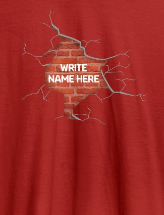 Brick Theme with Your Name On Red Color Personalized Women Tshirt