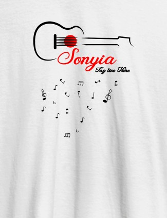 Personalised Womens T Shirt With Name Guitar Design White Color