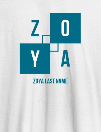 Personalised Womens T Shirt With Last Name White Color