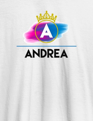 Personalised Womens T Shirt Initial On Crown White Color