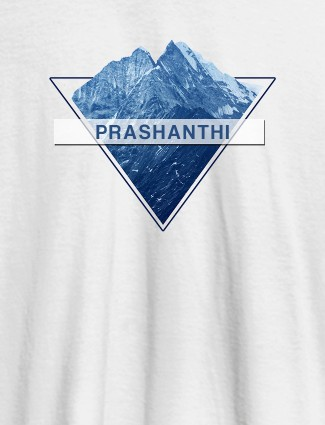 Himalaya Mountain Personalised Womens Printed T Shirt White Color