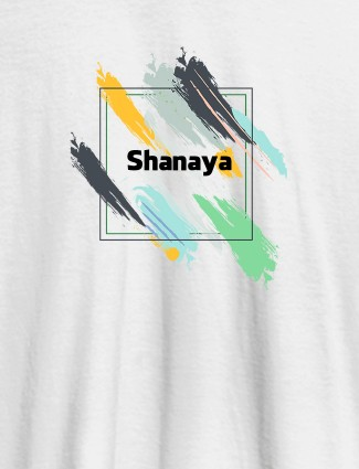 Personalised Womens T Shirt Name With Abstract Design White Color
