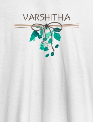 Personalised Womens T Shirt Name With Knot Design White Color