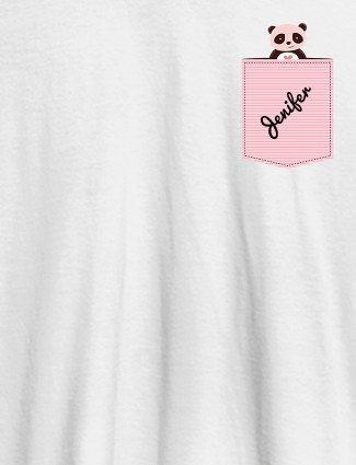 Personalised Womens T Shirt With Name Teddy Design White Color