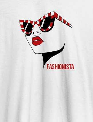 Fashionista Womens T Shirt Trendy Unique Design White Color