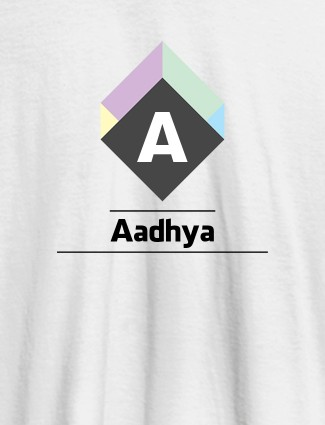 Personalised Womens T Shirt With Name Cubic Design White Color
