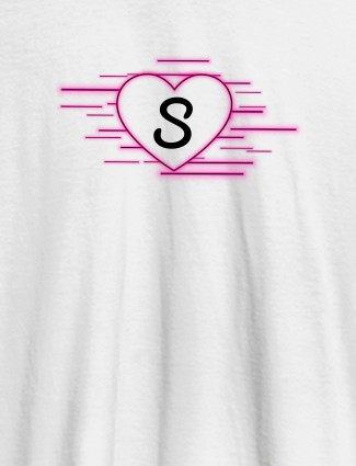 Love with Initial On White Color Customized Women Tees