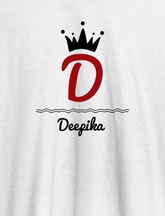 Queen with Initial and Name On White Color T-shirts For Women with Name, Text and Photo