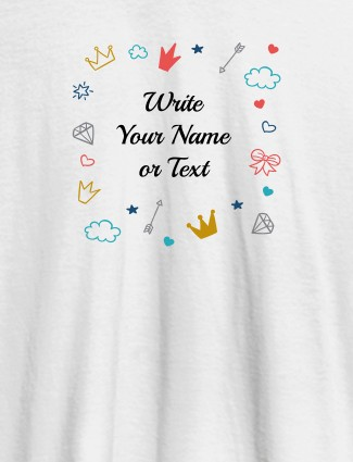 Multi Design with Your Name On White Color Customized Womens T-Shirt