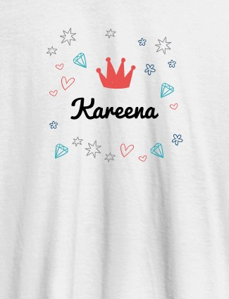 Crown Design with Your Name On White Color Customized Tshirt for Women