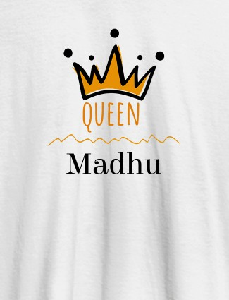 Queen Crown with Name On White Color Women T Shirts with Name, Text, and Photo