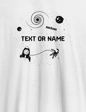 Women Astronaut with Your Name On White Color T-shirts For Women with Name, Text and Photo