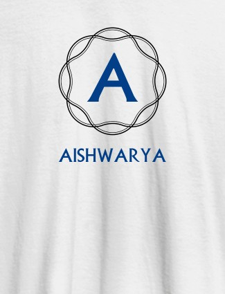 Wave Design with Initial and Your Name On White Color T-shirts For Women with Name, Text and Photo