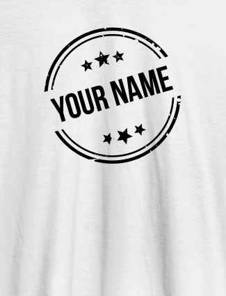 Stamp with Stars Theme and Your Name On White Color Customized Women T-Shirt