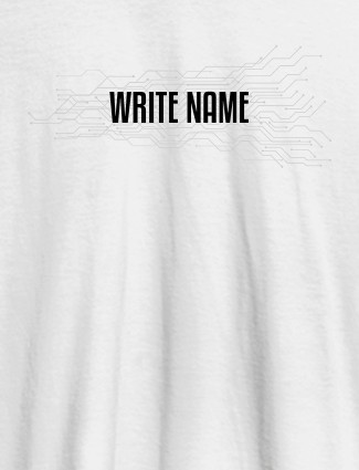 Circuit Theme with Name On White Color Customized Women Tees