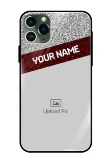 Apple iPhone 11 Pro Personalized Glass Phone Case  - Image Holder with Glitter Strip Design