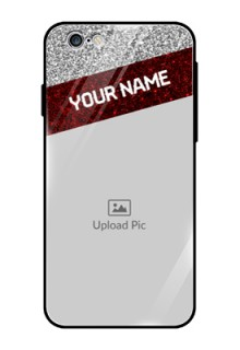 Apple iPhone 6 Personalized Glass Phone Case  - Image Holder with Glitter Strip Design