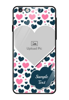 Apple iPhone 6S Plus Custom Glass Phone Case  - Pink & Blue Heart Design