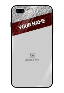 Apple iPhone 7 Plus Personalized Glass Phone Case  - Image Holder with Glitter Strip Design