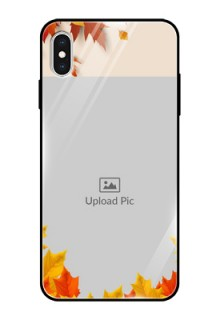 Apple iPhone XS Max Photo Printing on Glass Case  - Autumn Maple Leaves Design