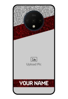OnePlus 7T Personalized Glass Phone Case  - Image Holder with Glitter Strip Design