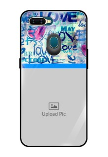 Oppo A7 Custom Glass Mobile Case  - Colorful Love Design