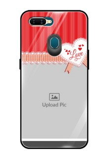 Oppo A7 Custom Glass Mobile Case  - Red Love Pattern Design