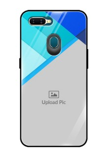 Oppo A7 Custom Glass Phone Case  - Blue Pattern Design