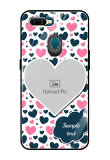 Oppo A7 Custom Glass Phone Case  - Pink & Blue Heart Design