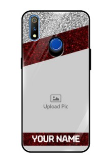 Realme 3 Pro Personalized Glass Phone Case  - Image Holder with Glitter Strip Design