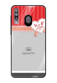 Samsung Galaxy M30 Custom Glass Mobile Case  - Red Love Pattern Design