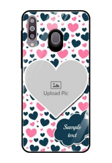 Samsung Galaxy M30 Custom Glass Phone Case  - Pink & Blue Heart Design