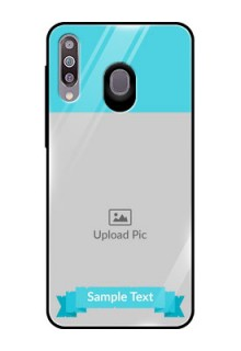 Samsung Galaxy M30 Personalized Glass Phone Case  - Simple Blue Color Design