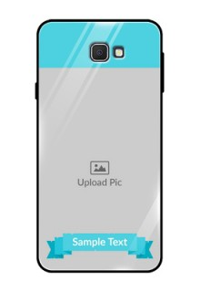 Samsung Galaxy On Prime Personalized Glass Phone Case  - Simple Blue Color Design