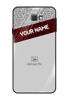 Samsung Galaxy On Prime Personalized Glass Phone Case  - Image Holder with Glitter Strip Design
