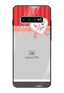 Samsung Galaxy S10 Plus Custom Glass Mobile Case  - Red Love Pattern Design