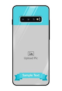 Samsung Galaxy S10 Plus Personalized Glass Phone Case  - Simple Blue Color Design