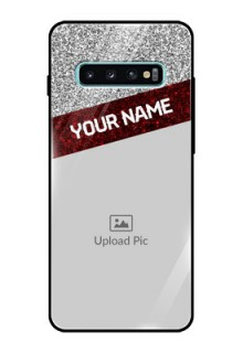 Samsung Galaxy S10 Plus Personalized Glass Phone Case  - Image Holder with Glitter Strip Design